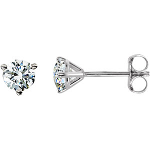 Created Moissanite Round 3-Prong Earrings