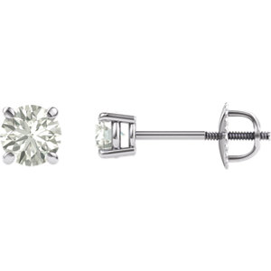 Round Created Moissanite Threaded Post Earrings