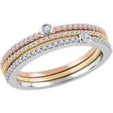 Diamond Tri-Color Stackable Ring Set