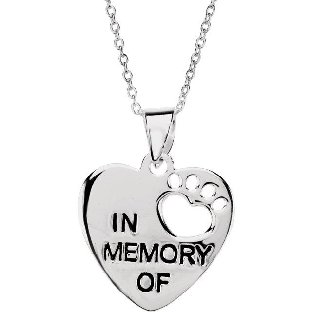 Sterling Silver Heart U Back™ In Memory Necklace