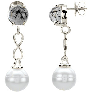 Sterling Silver<br> Tourmalinated Quartz &<br> Freshwater Aultured Pearl<br> Earrings