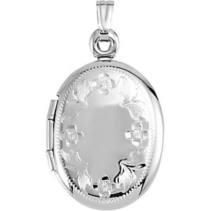 Oval Locket with Floral Design