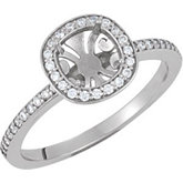 Halo-Styled Semi-Mount Engagement Ring or Matching Band