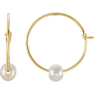 Youth Freshwater Cultured Pearl Hoop Earrings