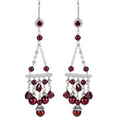 Freshwater Cultured Pearl & Rhodolite Garnet Chandelier Earrings