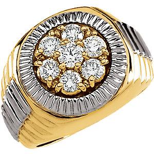 14K Yellow & White 1 3/8 CTW Diamond Men's Ring