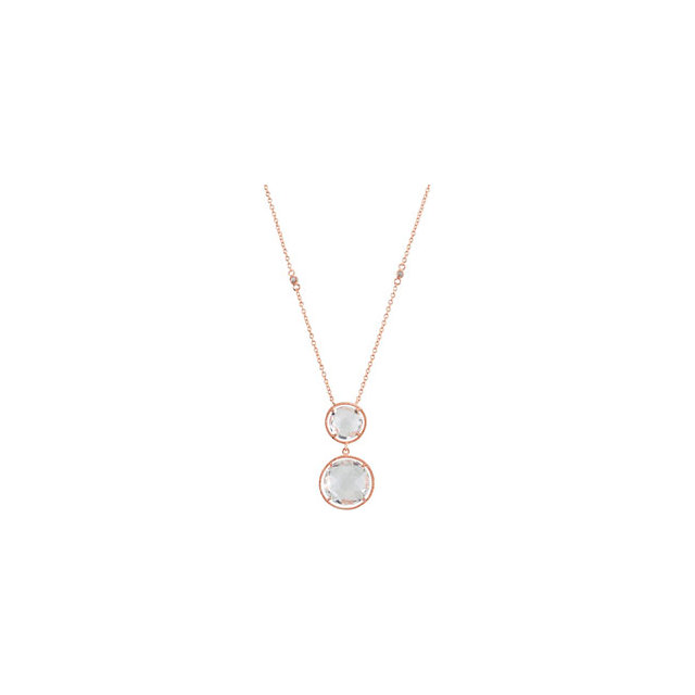14K Rose Gold-Plated Sterling Silver Clear Quartz 17
