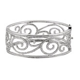 5 1/8 CTW Diamond Scroll Bangle Bracelet