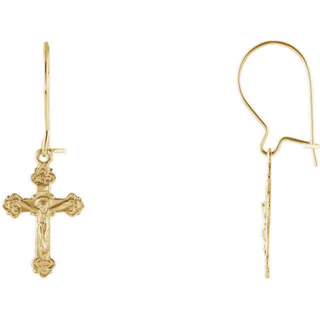 14K Yellow Crucifix Earrings