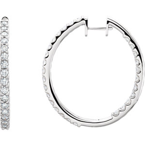 Hinged Diamond Inside/Outside Hoop Earring
