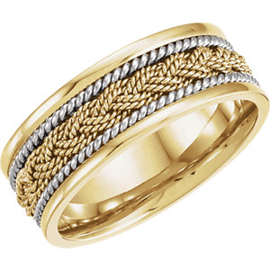 Two-Tone 8mm Comfort-Fit Hand-Woven Band