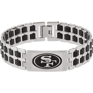 Diamond Princess Stainless Steel & Rubber San Francisco 49ers Team Logo Bracelet at Sears.com