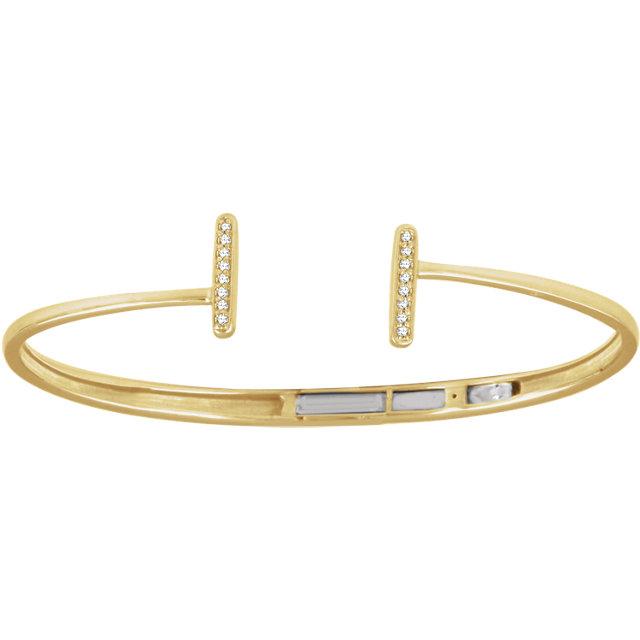 14K Yellow 1/ CTW Diamond Vertical Bar Cuff Bracelet
