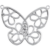 Butterfly & Floral Design Neck Trim Mounting or Necklace
