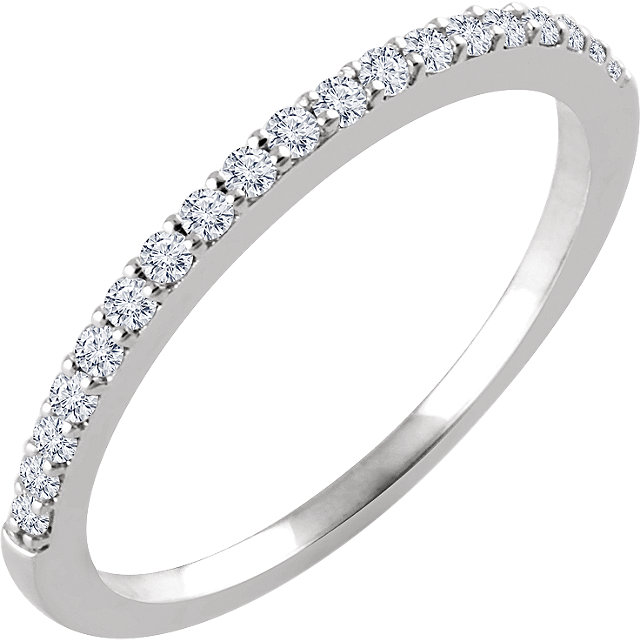 14K White 1/6 CTW Diamond Band for 6.5mm Round Ring