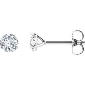 Created Moissanite Round 3-Prong Friction Post Stud Earrings