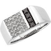 1/3 ct tw Gent's Black & White Diamond Ring