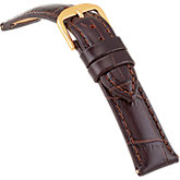 16mm Ladies Short Alligator Grain Padded Brown Watch Strap
