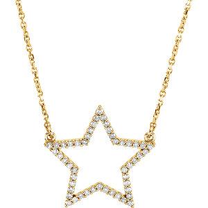 "14K Yellow 1/4 CTW Diamond Star 16"" Necklace"