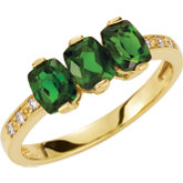 3-Stone Chrome Diopside & Diamond Ring