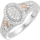 Diamond Ring with Rose Plating