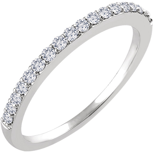14K White 1/4 CTW Diamond Band for 6.5mm Round Ring