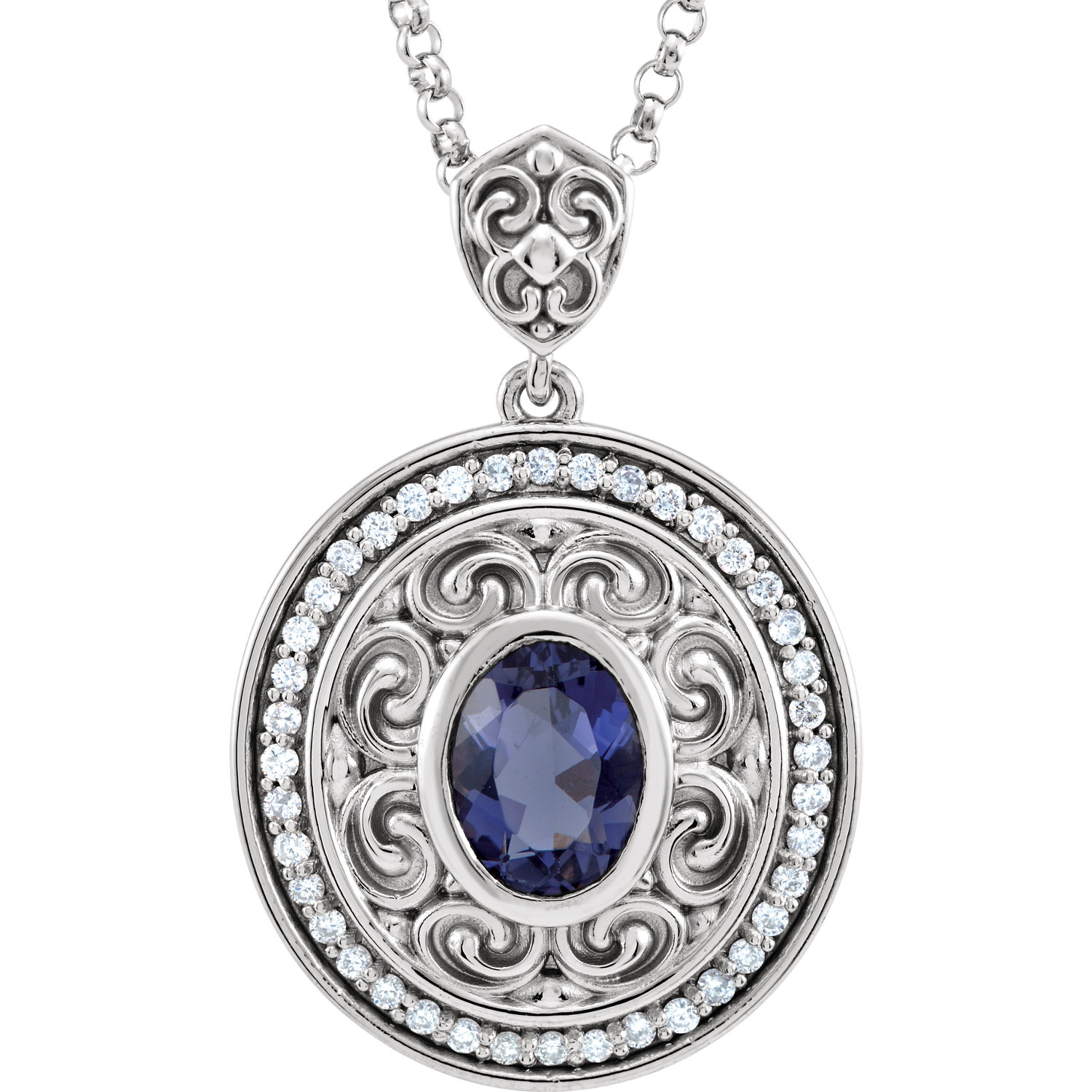 "14kt White Iolite & 1/8 CTW Diamond 18"" Necklace"