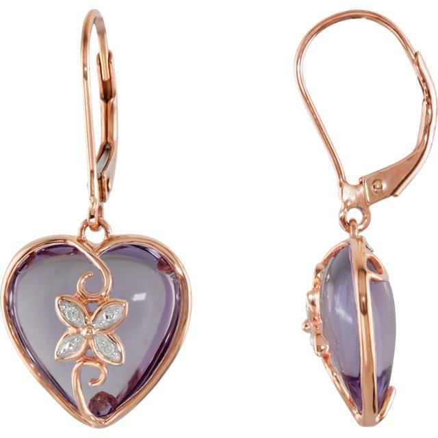 14K Rose Rose de France Quartz & .06 CTW Diamond Heart Lever Back Earrings