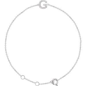 """14K White .05 CTW Diamond Initial """"G"""" 6-7"""" Bracelet"""
