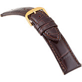 20mm Ladies Regular Alligator Grain Padded Brown Watch Strap