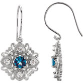 London Blue Topaz & Diamond Vintage-Inspired Earrings or Mounting