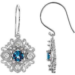 London Blue Topaz & Diamond Vintage-Inspired Earrings or Mounting