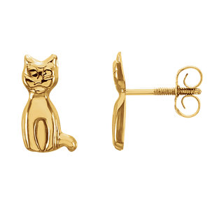 14K Yellow Youth Cat Earrings