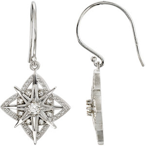 Sterling Silver 1/A ATW<br> Diamond Vintage Design<br> Earrings