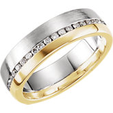 Two-Tone 6mm Diamond Duo Band or Mounting