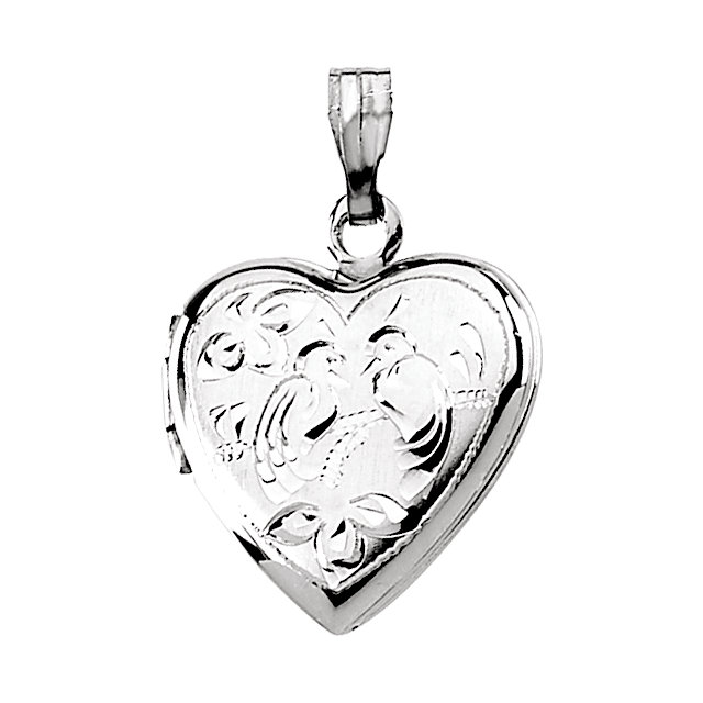 Sterling Silver Love Birds Heart Shape Locket