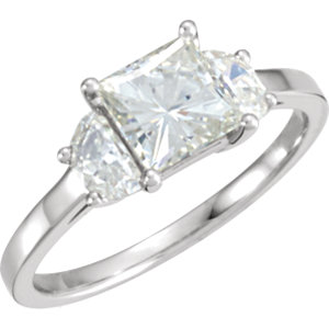 Created Moissanite 3-Stone Engagement Ring or Diamond Semi-Mount