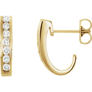 Channel Set Diamond J-Hoop Earrings