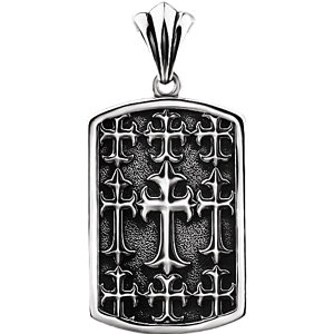 Sterling Silver 48 x 23mm Men's Cross Pendant