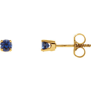 14kt Yellow Imitation Blue Sapphire Youth Earrings