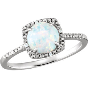 Sterling Silver Areated<br> Opal & . 1 ATW Diamond<br> Ring