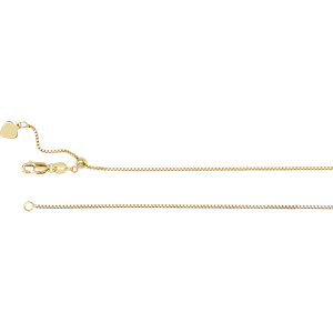 "14K Yellow 1mm Adjustable Box 22"" Chain"