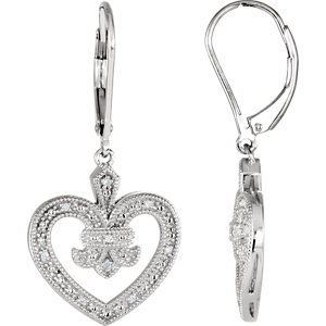 Sterling Silver . 6 ATW Diamond Heart Lever Back Earrings