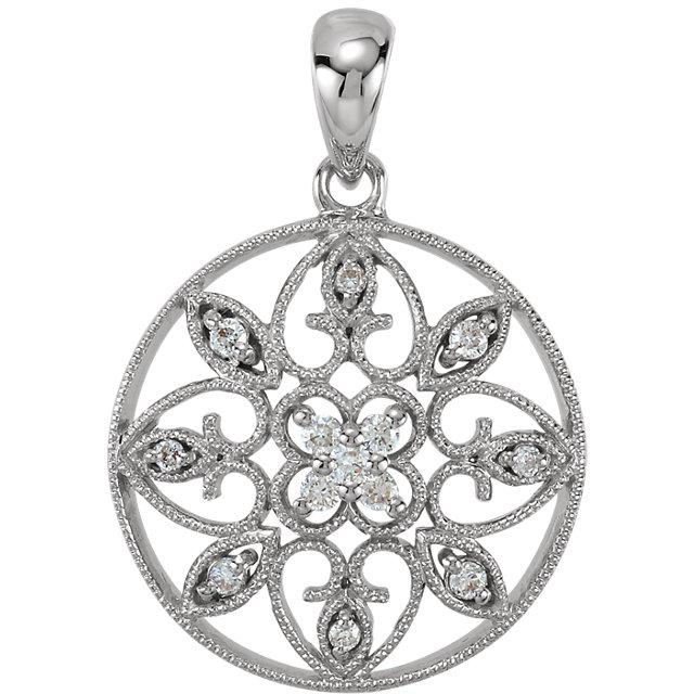 14K White 1/8 CTW Diamond filigree Pendant