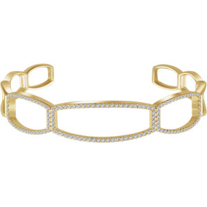 "14K Yellow 3/4 CTW Diamond Cuff 6 1/4"" Bracelet"