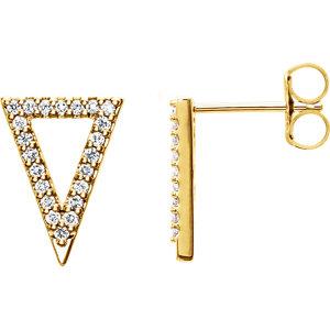 14K Yellow 1/4 CTW Diamond Triangle Earrings