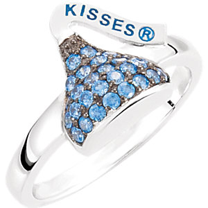 Sterling Silver September HERSHEYS KISSES Aubic Zirconia Birthstone Ring