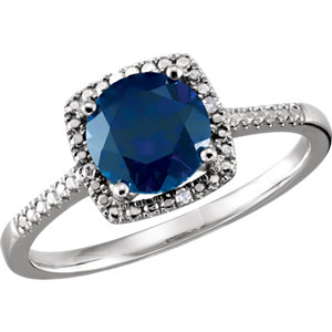 Sterling Silver Areated<br> Blue Sapphire & . 1 ATW<br> Diamond Ring