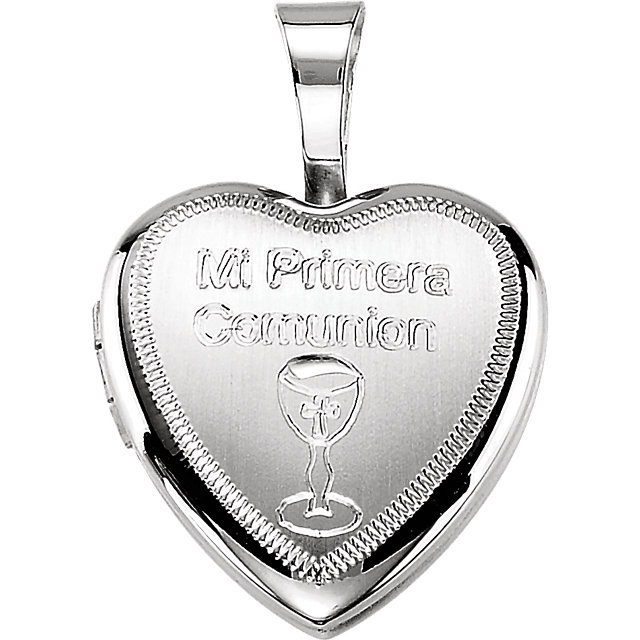 Sterling Silver Primera Communion Heart Locket