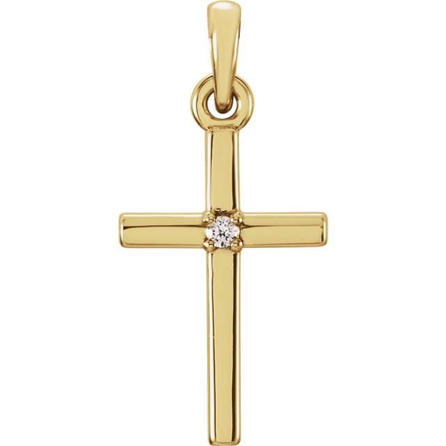 14K Yellow 19.2x9mm .01 CTW Diamond Cross Pendant